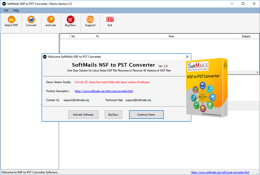 softmails nsf to pst